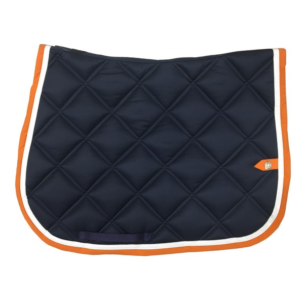 silver-crown_equestrian_saddle-pad_double-carre_double-square_bridle_tapis-de-selle_bridle_marine_dark-blue_blanc_white_orange