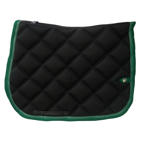 silver-crown_equestrian_saddle-pad_tapis-de-selle_double-carre_double-square_noir_vert_black_green_jumping