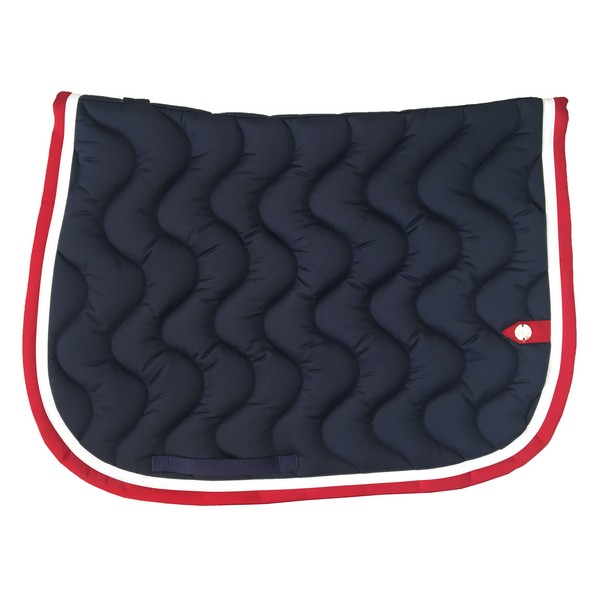 silver-crown_equestrian_saddle-pad_tapis-de-selle_jumping_vague_wave_marine_navy_blanc_white_rouge_red