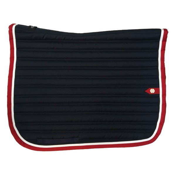 silver-crown_equestrian_saddle-pad_tapis-de-selle_slim_dressage_marine_navy_blanc_white_rouge_red