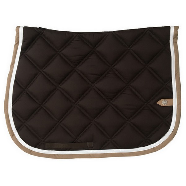 silver-crown_equestrian_saddle-pad_double-carre_double-square_bridle_tapis-de-selle_jumping_bridle_choco_dark-brown_blanc_white_tan_beige