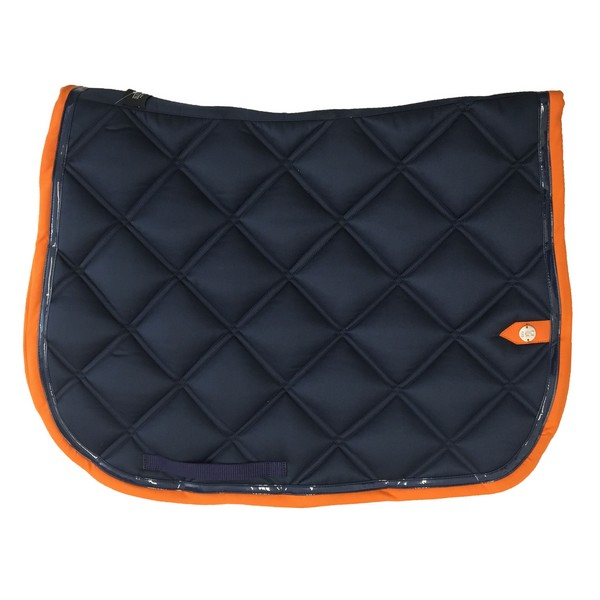 silver-crown_equestrian_saddle-pad_double-carre_double-square_bridle_tapis-de-selle_jumping_bridle_marine_navy_orange