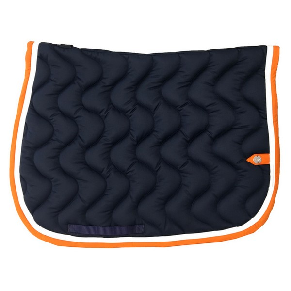 silver-crown_equestrian_saddle-pad_tapis-de-selle_jumping_vague_wave_marine_navy_blanc_white_orange
