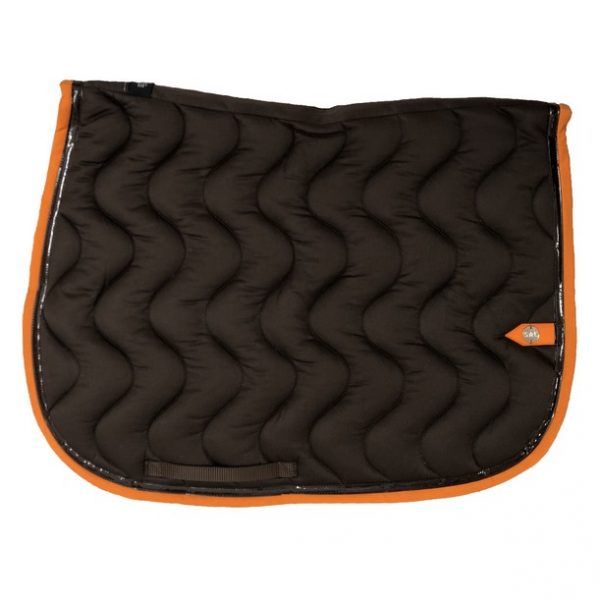 silver-crown_equestrian_saddle-pad_vague_wave_bridle_tapis-de-selle_bridle_chocolat_chocolate_marron_dark-brown_orange