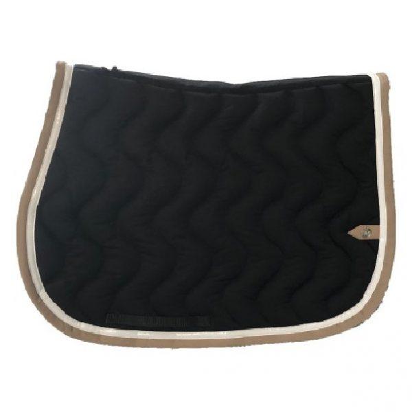 silver-crown_equestrian_jumping_tapis-de-selle_saddle-pad_briderie_bridle_wave_vague_noir_black_blanc_white_tan_beige_horsewear
