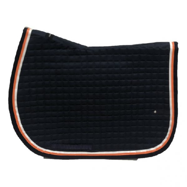 silver-crown_equestrian_briderie_bridle_tapis-de-selle_slim-us_saddle-pad_horsewear_marine_navy_blanc_white_orange
